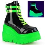 grønn neon 5 cm SHAKER-52 cyberpunk platå ankelstøvletter