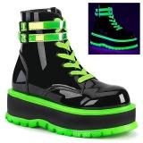 grønn neon 5 cm SLACKER-52 cyberpunk platå ankelstøvletter