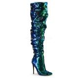 grønn paljetter 13 cm COURTLY-3011 pleaser lårhøye støvler