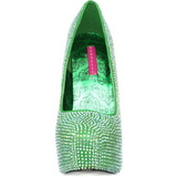 grønn strass 14,5 cm Burlesque TEEZE-06R høye platform pumps sko