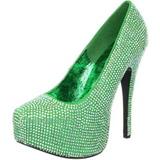 grønn strass 14,5 cm TEEZE-06R høye platform pumps sko