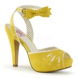 gul 11,5 cm Pinup retro vintage BETTIE-01 dame sandaler med hæl