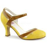 gul 7,5 cm FLAPPER-27 pinup pumps sko med lave hæler