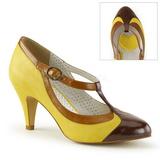 gul 8 cm PEACH-03 pinup pumps sko med lave hæler