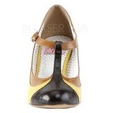 gul 8 cm retro vintage PEACH-03 pinup pumps med lave hæler