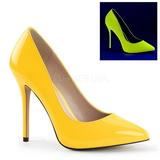 gul neon 13 cm AMUSE-20 spisse pumps med stiletthæler