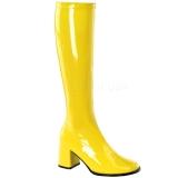 gule lakkstøvler 7,5 cm GOGO-300 høye hæler damestøvler til menn