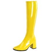 gule lakkstøvler blokkhæl 7,5 cm - 70 tallet støvler hippie disco gogo - knehøye boots
