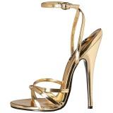 gull 15 cm DOMINA-108 fetish sandaler med stiletthæler