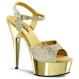 gull 15 cm Pleaser DELIGHT-609G krom platå høye hæler