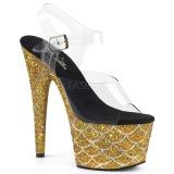 gull 18 cm ADORE-708MSLG glitter platå sandaler dame