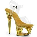 9fa3c86c gull 18 cm MOON-708GFT glitter platå sandaler dame
