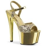 gull 18 cm Pleaser SKY-310SQ paljetter sko med høye hæler