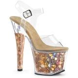 gull 18 cm RADIANT-708BHG hologram platå høye hæler dame