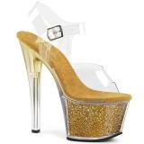 b10281e2 gull 18 cm SKY-308G-T glitter platå sandaler dame