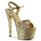 gull 18 cm SKY-310LG glitter platå høye hæler dame