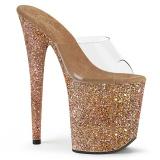 gull 20 cm FLAMINGO-801LG glitter platå slip ins dame med hæler