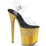 gull 20 cm FLAMINGO-808-2HGM glitter platå sandaler dame