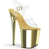 gull 20 cm FLAMINGO-808 krom platå høye hæler sko