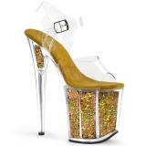 gull 20 cm FLAMINGO-808GF glitter platå høye hæler dame