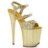gull 20 cm FLAMINGO-874 glitter platå sandaler dame