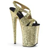 gull 23 cm INFINITY-930LG glitter platå høye hæler dame