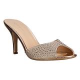 gull 8,5 cm LUCY-01 glitter flate slip ins dame med hæler