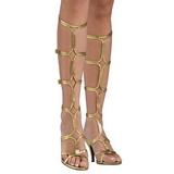 gull 8 cm ROMAN-10 knehøye gladiator sandaler til dame