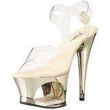 gull gjennomsiktig 18 cm MOON-708DMCH platå høye hæler sko