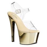 gull gjennomsiktig 18 cm SKY-308 platå høye hæler sko
