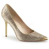 gull glimmer 10 cm CLASSIQUE-20 spisse pumps med stiletthæler