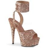 gull glinser 15 cm DELIGHT-691LG pleaser høye hæler med ankel stropper