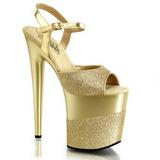 gull glinser 20 cm Pleaser FLAMINGO-809-2G høye hæler platå