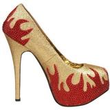 gull glitrende steiner 14,5 cm Burlesque TEEZE-27 damesko med høy hæl
