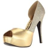 gull glitter 14,5 cm Burlesque TEEZE-41W pumps for brede føtter til menn