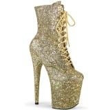 gull glitter 20 cm FLAMINGO-1020GWR høyhælte ankelstøvletter - pole dance støvletter