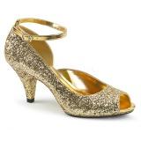 gull glitter 7,5 cm BELLE-381G dame pumps sko med åpen tå