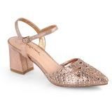 gull glitter 7 cm Fabulicious FAYE-06 dame sandaler med hæl