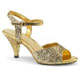 gull glitter 8 cm BELLE-309G sko med høye hæler for menn