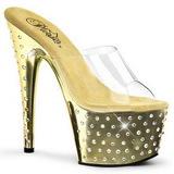 gull krystall platform 18 cm STARDUST-701 høyhælte slipper sko