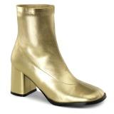 gull kunstlær 7,5 cm GOGO-150 stretch støvletter med blokkhæl for kvinner