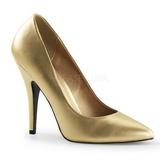 gull matt 13 cm SEDUCE-420 spisse pumps med høye hæler