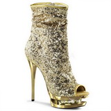 gull paljetter 15,5 cm BLONDIE-R-1008 korte støvler platå
