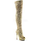 gull paljetter 15 cm PLEASER BLONDIE-R-3011 overknee støvler platå