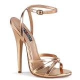gull rosa 15 cm DOMINA-108 fetish sandaler med stiletthæler