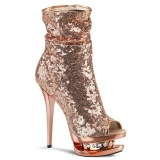 gull rosa paljetter 15,5 cm BLONDIE-R-1008 korte støvler platå