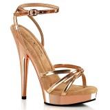 gull rosa platåsandaler 15 cm SULTRY-638 vegan sandaler med høye hæler