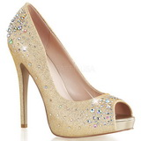 gull satin 13 cm HEIRESS-22R strass platform pumps sko
