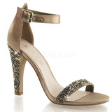 gull strass 11,5 cm CLEARLY-436 høye fest sandaler med hæl