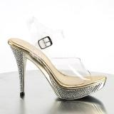 gull strass 12 cm ELEGANT-408 platå høyhælte sandaler sko